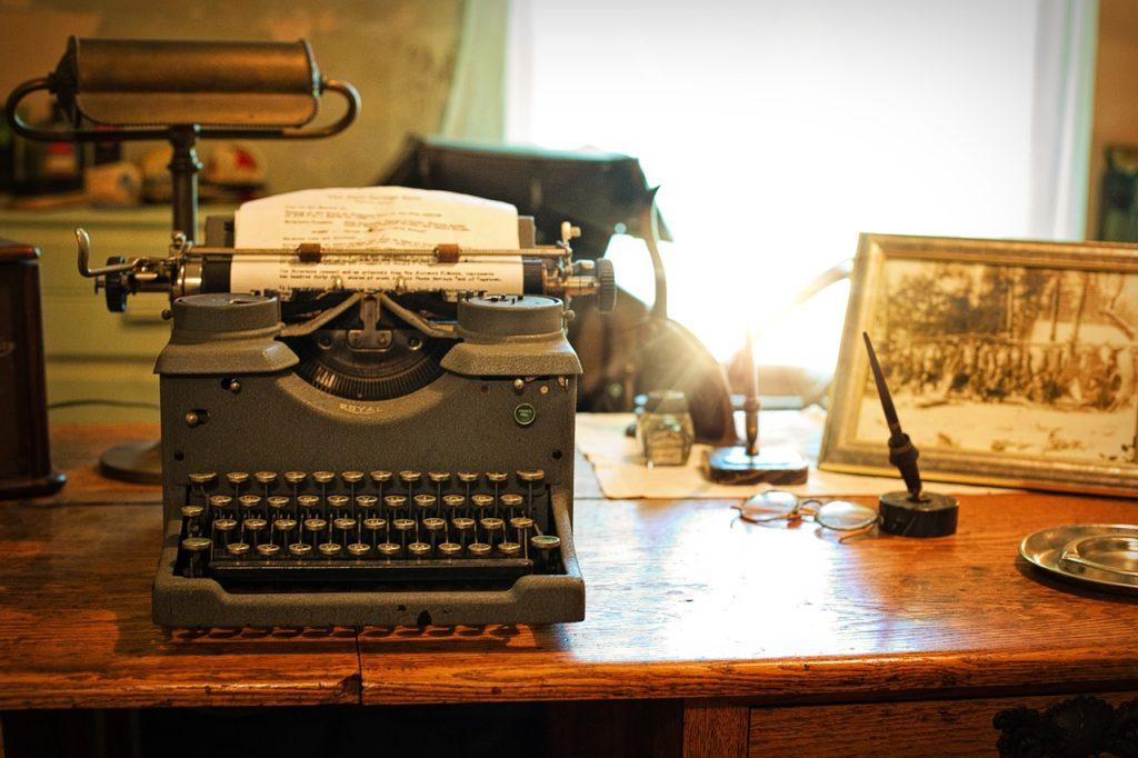 typewriter, desk, vintage