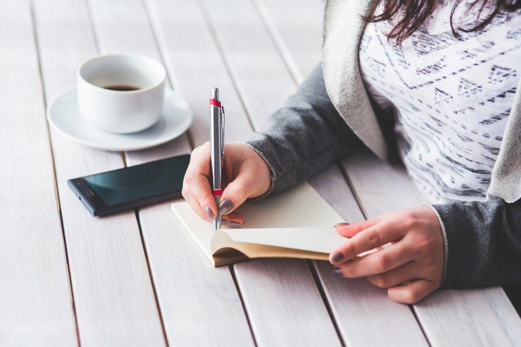 woman, write, notepad