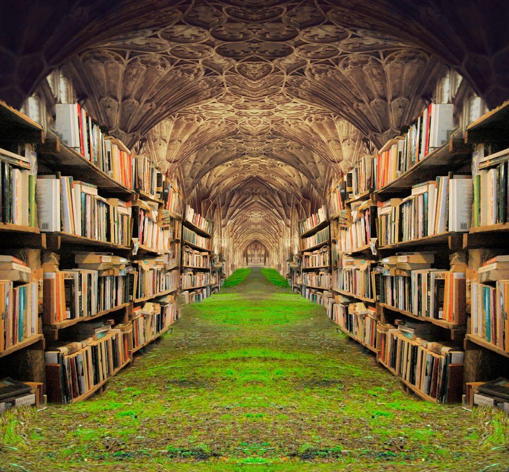 books, shelves, grass-5430309.jpg