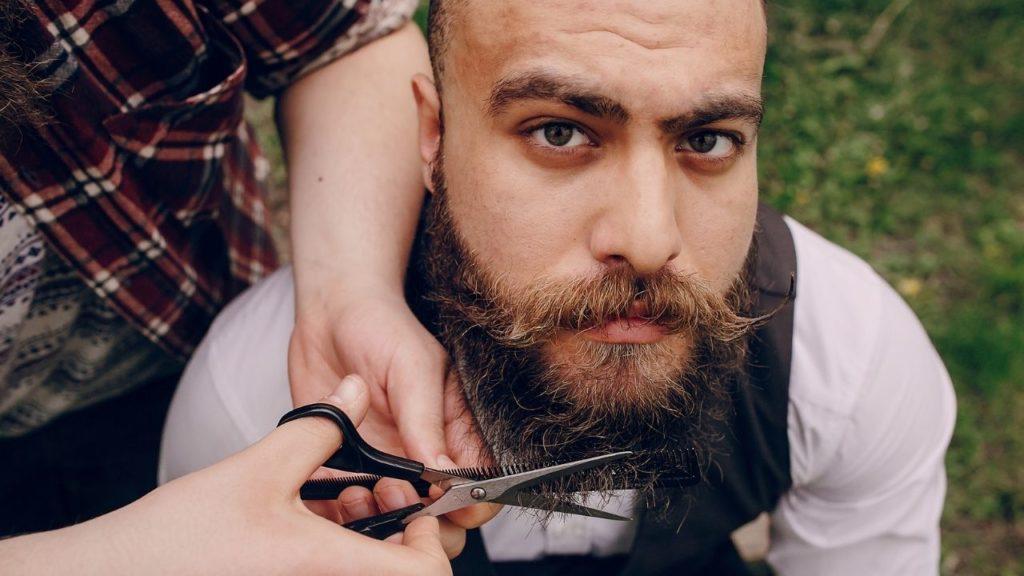 man, formal, beard, trim, outdoors